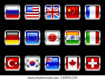 Metallic Glossy Flags Set - stock photo