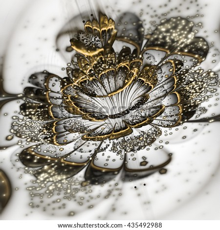 Metallic golden fractal flower, digital artwork for creative graphic design