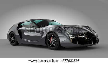 Metallic gray sports car isolated on gray background. Original design. 3D rendering image with clipping path. - stock photo