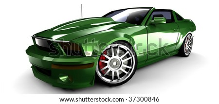 metallic green sports car with retro styling isolated on white