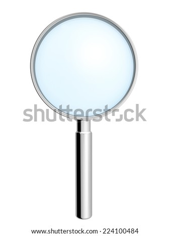 metallic hand lens on white background.
