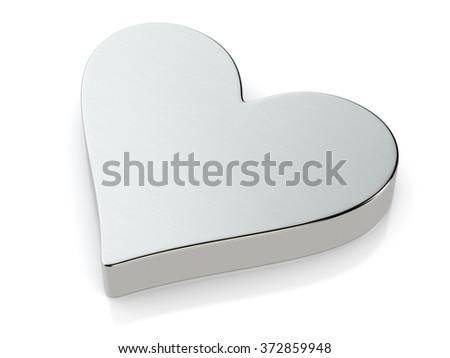 Metallic heart symbol on a white background. - stock photo