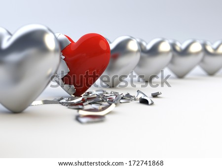 Metallic Hearts - Difference / Individuality Concept - stock photo