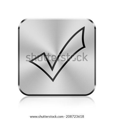 Metallic icon with carved design of check mark