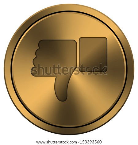 Metallic icon with carved design on copper-colored  background - stock photo