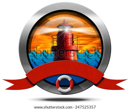 Metallic Icon with Red Lighthouse. Round metallic icon with empty red ribbon, lifebuoy, red metallic lighthouse with light beam at sunset with clouds and blue waves.