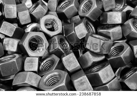 Metallic large size bolts pattern and background  - stock photo