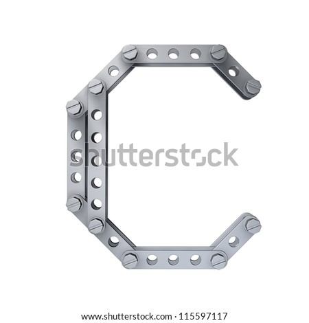 Metallic letter (C) with rivets and screws isolated on white background 3d render high resolution