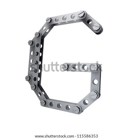 Metallic letter (G) with rivets and screws isolated on white background 3d render high resolution