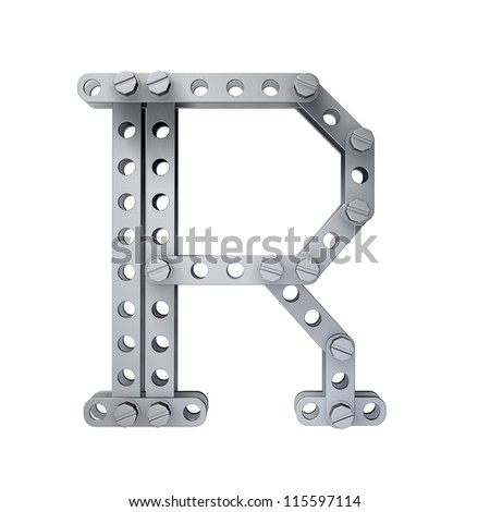 Metallic letter (R) with rivets and screws isolated on white background 3d render high resolution