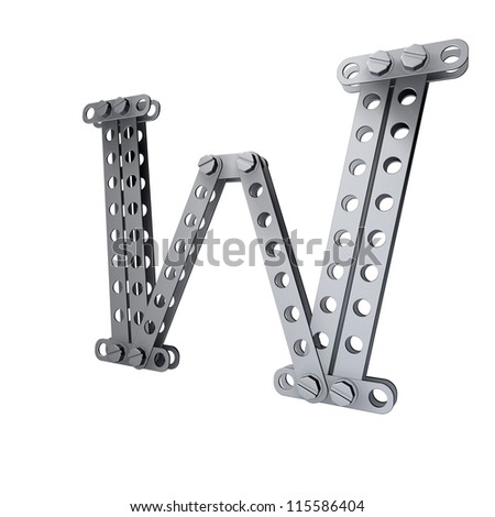 Metallic letter (W) with rivets and screws isolated on white background 3d render high resolution