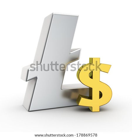Metallic Litecoin symbol with small golden dollar sign