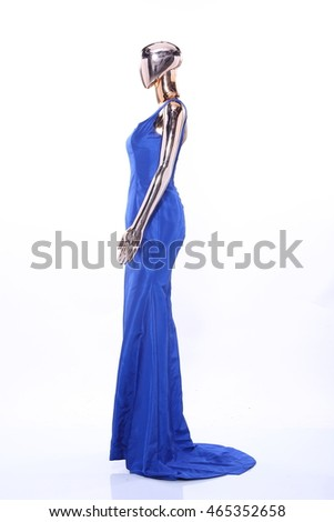Metallic Mannequin, Shinny Reflection Model, Blue Silk Fashion Dress Evening Gown, rear side