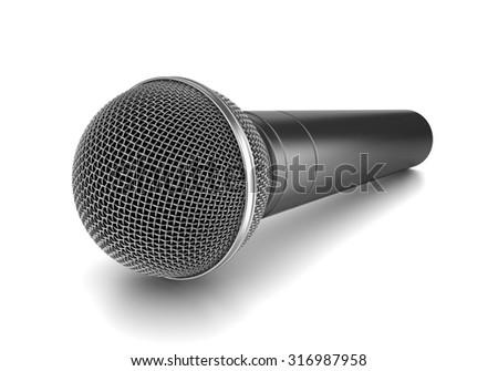 Metallic Microphone on White Background 3D Illustration, Studio Shot - stock photo