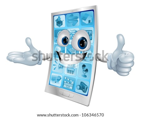 Metallic mobile phone man doing a thumbs up and grinning positively