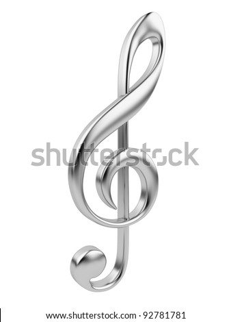 Metallic music note 3D. Icon isolated on white background - stock photo