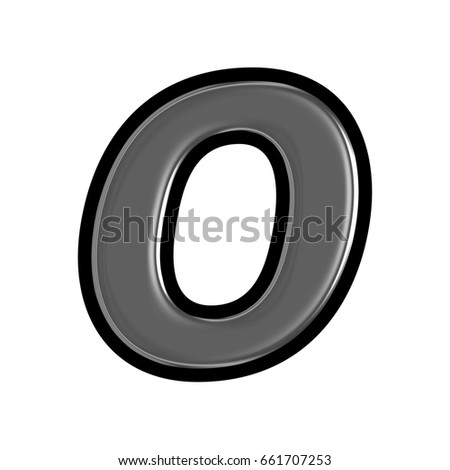 Metallic or glass black uppercase or capital letter O in a 3D illustration with a smooth shiny metal surface texture and basic bold font style isolated on a white background with clipping path.