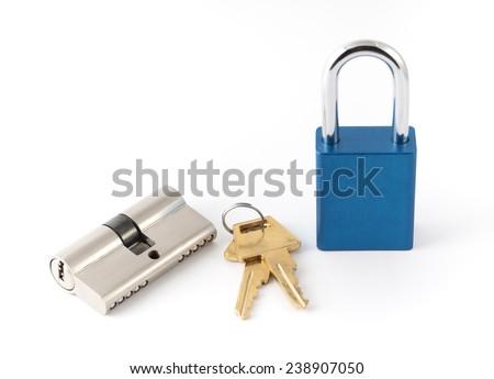 Metallic padlocks with key - stock photo
