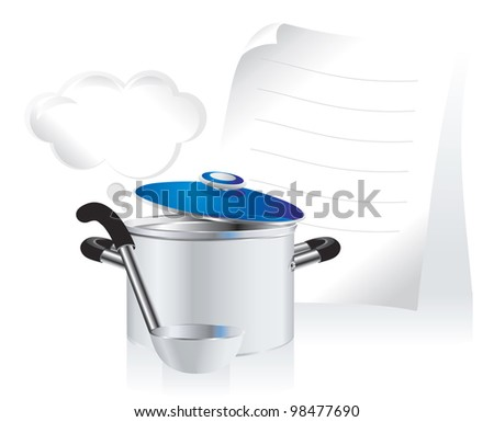 metallic pan, covered with lid, ladle  and white sheet of paper for your text