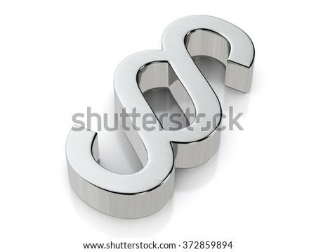 Metallic paragraph symbol on a white background. - stock photo