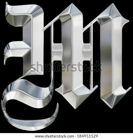 Metallic Patterned Letter Of German Gothic Alphabet Font M