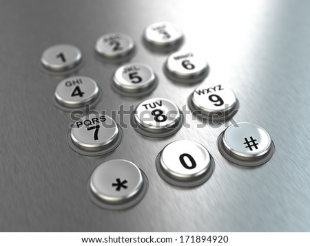 Metallic pay phone keypad. Three-dimensional image. 3d