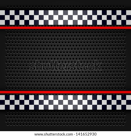 Metallic perforated sheet for race. Rasterized versions (copy of the vector) - stock photo