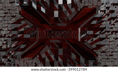 Metallic red  futuristic space tunnel entrance 3d rendering - stock photo