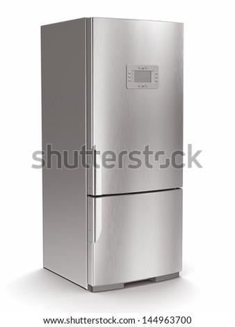 Metallic refrigerator on white isolated background. 3d - stock photo