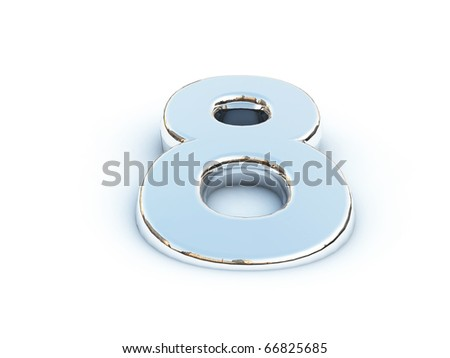 Metallic render of number eight on a white background - stock photo