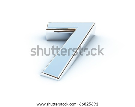 Metallic render of number seven on a white background