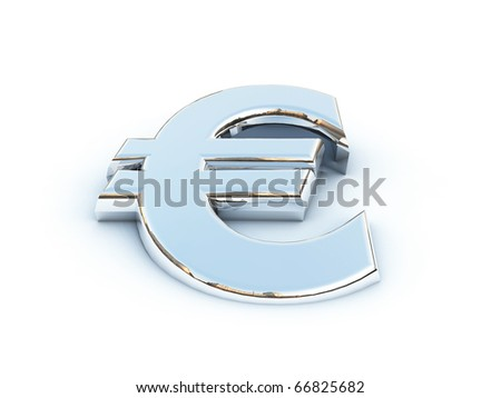 Metallic render of on a white background - stock photo