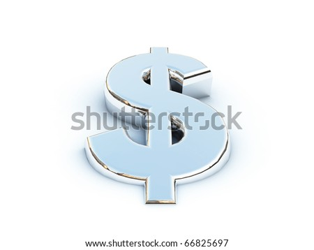 Metallic render of the dollar sign on a white background