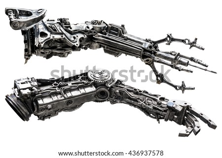 Metallic robot hand made from machine part isolated on white background - stock photo