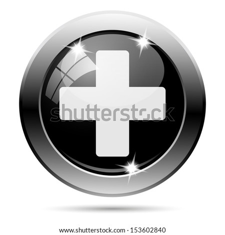 Metallic round glossy icon with white design on black background - stock photo