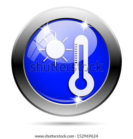 Metallic round glossy icon with white design on blue background
