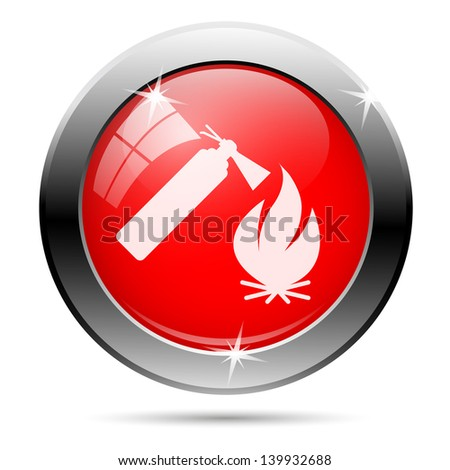 Metallic round glossy icon with white on red background - stock photo