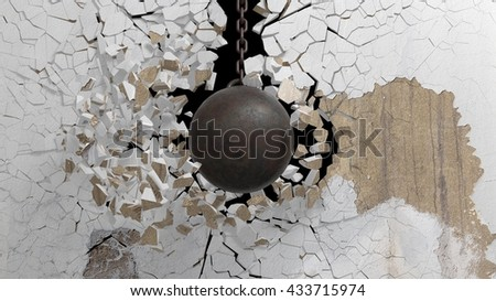 Metallic rusty wrecking ball on chain shattering  an old wall. 3D rendering - stock photo