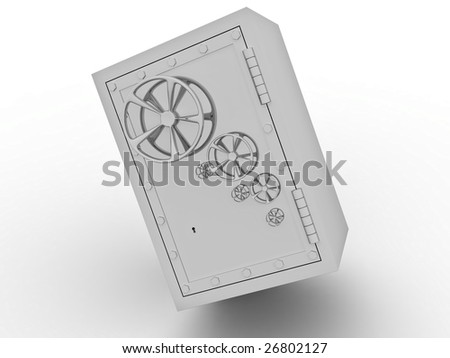 Metallic safe for storage of values on a white background