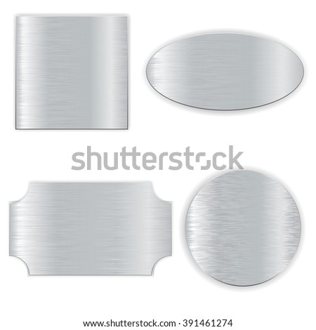 Metallic scratched shields. Raster version - stock photo