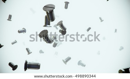 Metallic screws flow on white background. 3d render.