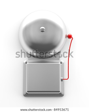 Metallic secure bell on white background (3d model) - stock photo