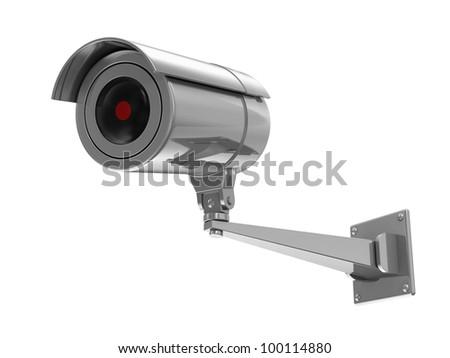 Metallic Security Camera isolated on white background - stock photo