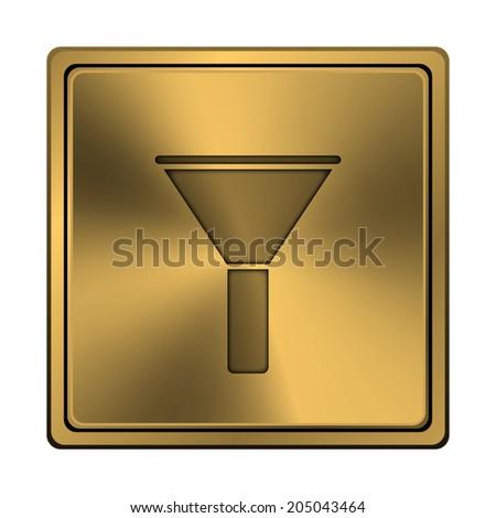 Metallic shiny glossy icon on white background. - stock photo