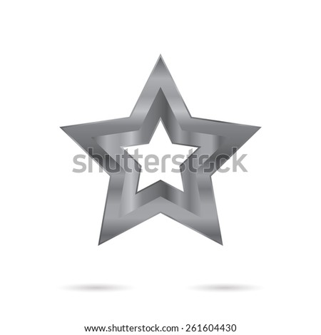 Metallic sign. Set of stainless 3d elements - star. - stock photo