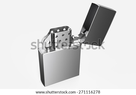 Metallic silver lighter isolated on white background - stock photo