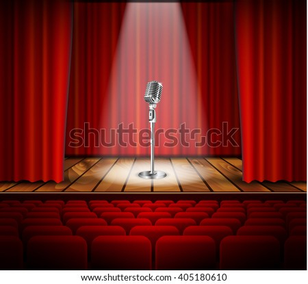 Metallic silver vintage microphone standing on empty stage under beam of spotlight light. mic on podium in the dark against red curtain backdrop. art image illustration, retro design Raster version