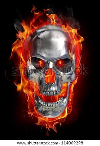 Metallic skull on fire - stock photo