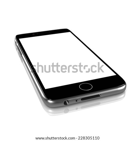 Metallic Smartphone with White Blank Display on White Background 3D Illustration - stock photo