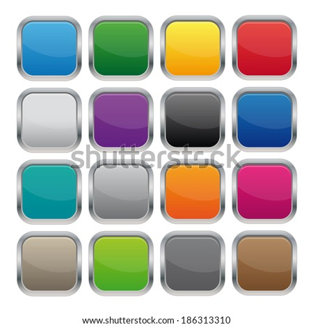 Metallic square buttons. Vector available. - stock photo